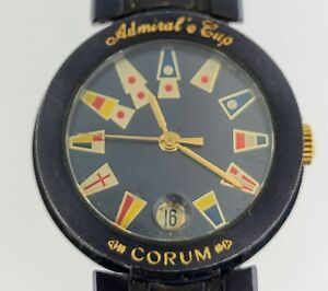 Corum Admirals Cup Women's Watch Quartz Gun Blue Steel With Steel Band for Parts
