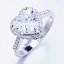 Romantic Wedding Party Jewelry 1ct White Heart Cubic Zircon Rings X0032 Size 7 O