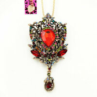 Betsey Johnson Vintage Crystal Rhinestone Pendant Chain Necklace/Brooch Pin