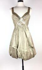 BCBG MAX AZRIA Dress Metallic Gold Shimmer Bubble Hem Sequin V-Neck Party Size 4