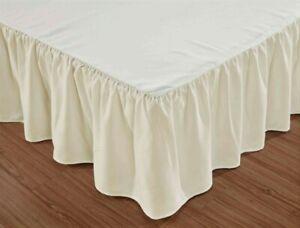"Beige Cream Color BED SKIRT TWIN SIZE Platform Style 14"" Drop"