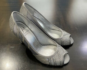 Adrianna Papell Flair Peep Toe Dress Pumps ANT SILVER JIMMY Size 6 M Shoes NWB