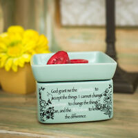 Serenity Prayer Teal White Floral Design Electric 2 in 1 Jar and Wax Warmer