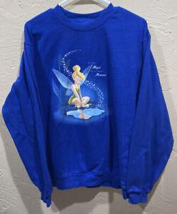 Vintage Disney Store Tinker Bell Crewneck Sweater Size Medium Blue