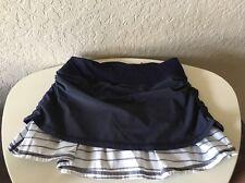 Lululemon Run Chase Me Skirt Skort 2 Navy Blue White Stripe Ruch