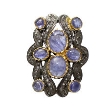 925 Sterling Silver Natural Rose Cut Diamond Tanzanite Victorian Ring R-68