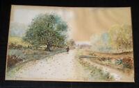 Antique Vintage Watercolor Landscape Painting Signed Carl Lindson 12 1/2~20 1/2