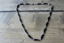 Vintage Sterling Silver Black Onyx Tube Necklace Size: 17 inches