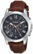 Fossil Black Dial Stainless Steel Leather Chronograph Quartz Male Watch FS4813