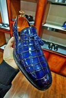Mocassins à imprimé crocodile en cuir bleu fait à la main pour hommes