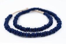 Cobalt Blue Ashanti Glass Saucer Beads 8mm Ghana African Large Hole Handmade