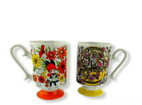 Vintage Yellow And Orange Young Lovers Flowered Tea Cup Lot Of 2 Flower Girl