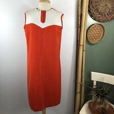 Vintage Carol Brent Womens Sz M/L? Shift Dress Retro Orange White 70's