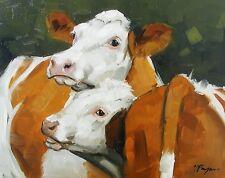 Original Oil painting - farmyard art -  cows - by j payne