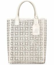 Tory Burch Large White/Ivory Lace Perforated Pattern Tote Bag New