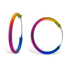 Funky Retro 1.2cm Rainbow Coloured Hoop Earrings - Small Stainless Steel