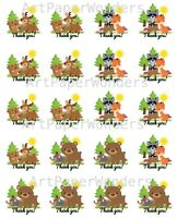 "2"" Woodland Party Labels Baby Shower Favor Labels Forest Birthday Stickers"