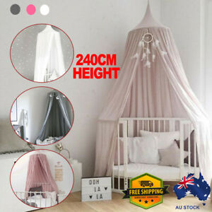 Kid Baby Bed Canopy Bedcover Mosquito Net Curtain Bedding Round Dome Cotton Tent