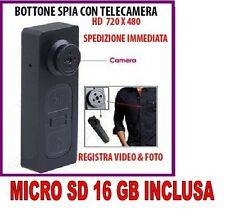 BOTTONE CON MICROCAMERA SPIA CIMICE VIDEO FOTO NASCOSTA MICRO CAMERA + SD 16GB