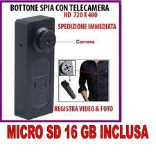 BOTTONE CON MICROCAMERA SPIA CIMICE VIDEO FOTO NASCOSTA MICRO CAMERA + SD 16GB