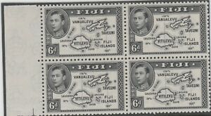 Stamps 1947 Fiji 6d black KGV1 SG261b left hand block of 4 inc guide lines MUH