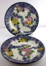 "Dinner Plates Art Pottery Pink Yellow Roses Wisteria Rim Edge HP 10.5"" River"