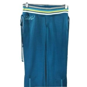 EckoRed Junior's Blue Joggers Blue Yellow Gray Wide Waistband Size XS