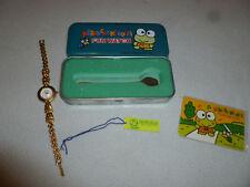 Vintage Gold Tone Kero Kero Keroppi Fun Wrist Watch W Metal Tin Rare Frog Kids