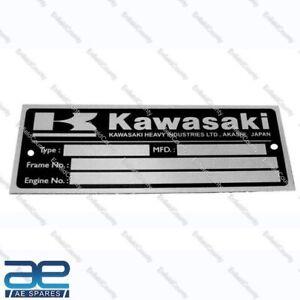 Kawasaki Blank Data Plate ID Tag Frame Vintage Kawasaki Z1 Z900 Z1 KZ900 Z11 ECs