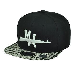 Michigan Ornate Pattern Flat Bill Snapback City Town US Hat Cap Black Adjustable