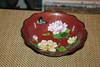 Chinese Cloisonné Metal Bowl Butterfly Flowers Scalloped Border