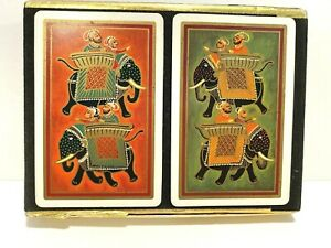 VINTAGE CONGRESS PLAYING CARD SET IN TRAY BOX ~ 2 COMPLETE DECKS ~ ELEPHANTS