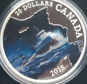 2015 Canada $20 fine silver coin, Edmund Fitzgerald w/ box and COA