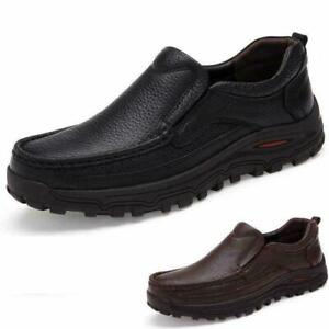 Men Leather Shoes Oxford Casual Loafers Moccasins Flat Black Brown US SZ 6.5-13