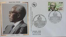 ENVELOPPE PREMIER JOUR - 9 x 16,5 cm - ANNEE 2002 - LEOPOLD SEDAR SENGHOR PARIS