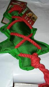 """Multipet Christmas Holiday Canvas Tree Cross Knot Rope 17"""" Dog Toy Squeaker"""