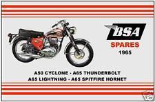 BSA Parts Manual A65 & A50 Models 1965 Replacement Spares Catalogue Catalog List