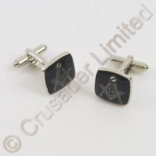 NEW Masonic Cufflinks with Black & Silver Emblem