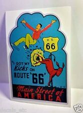 Kicks on Route 66 Vintage Style Travel Decal / Vinyl Sticker, Luggage Label