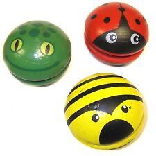 3 Wooden Animal Yo-Yos - Ladybird, Bee & Frog Yoyo - Fun Children's Toys
