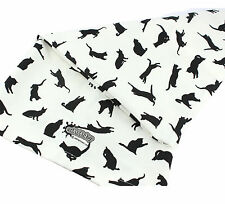 Tea Towel White Contemporary Pattern Black Cat Cats 100% Cotton UK Made Gift