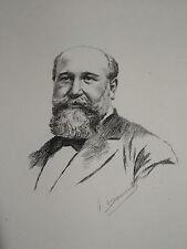 Gravure Eau Forte PORTRAIT J-B DARLAN MINISTRE JUSTICE GIRONDE DESMOULINS 1897