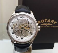 Rotary Mens Watch Skeleton Automatic Watch RRP £210 Black Leather Strap Box(R79)