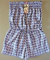 Damen Kurz Jumpsuit Sommer Strandkleid Bandeau Einteiler Kleid Blau S-M Primark
