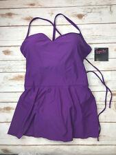 NWT Shape FX Womens 16W One Piece Swim Suit Dress Purple Skirted Tie Corset Back
