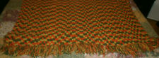 "HANDMADE AFGHAN BLANKET THROW 79"" x 59"" FRINGE FALL YELLOW ORANGE GREEN"