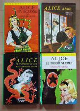 Lot de 4 Alice, Caroline Quine - Bibliothèque Verte 1967 à 1980 - TBE