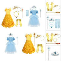 Girls Kids Princess Costume Fairytale Party Dress Up Cosplay Halloween Clothes