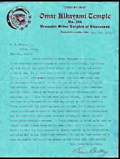 1912 Lewiston Idaho - Knights of Khorassan -  Omar Alkayami Temple - Letter Head