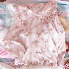 Japanese Kawaii Lolita Mori Girl Floral Tops Falbala Doll Collar Blouse Shirt